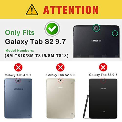 ProCase Schutzhülle für Galaxy Tab S2 9.7- Leder Stand Folio Tasche für Galaxy Tab S2 Tablet (9,7 Zoll, SM-T810 T815 T813) -Rot