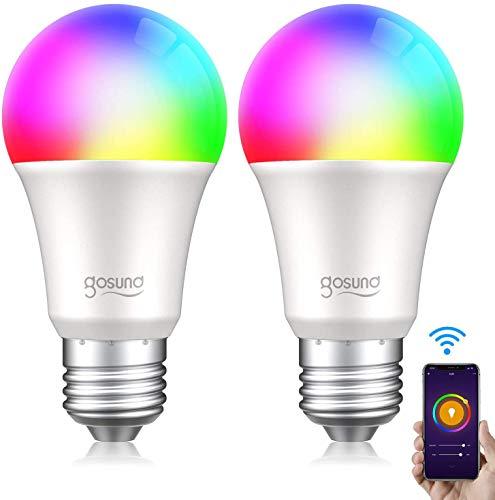 Bombilla LED E27 Inteligente WiFi, Gosund Luces Cálidas RGB Lámpara Luz 8W/800 Lúmenes, Smart Bulb Control por Voz/Remoto, Múlti-Colores Regulable, Equivale 75W para Ahorrar Energía, 2pcs