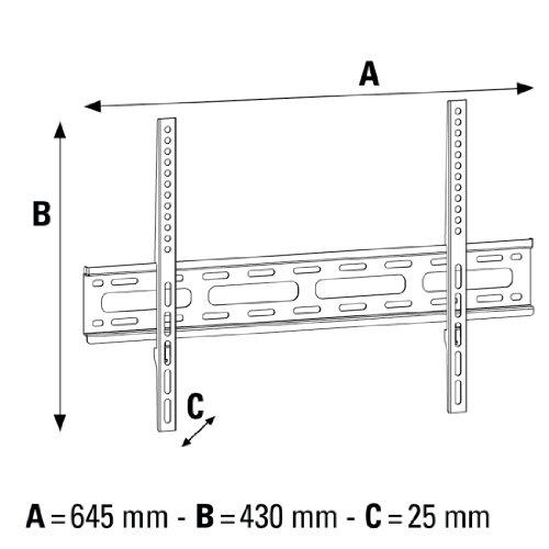 Hama Support mural TV Fixe (pour diagonale d'écran de 81 à 191cm (32 - 75 pouces), pour un maximum de 35 kg, VESA jusqu'à 600 x 400, 3 étoiles) Noir