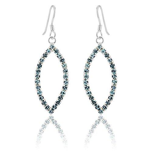 DTP Silver - Pendientes con Colgantes de forma Oval - Plata de Ley 925 con Cristales Swarovski - Color: Azul/Agua Marina