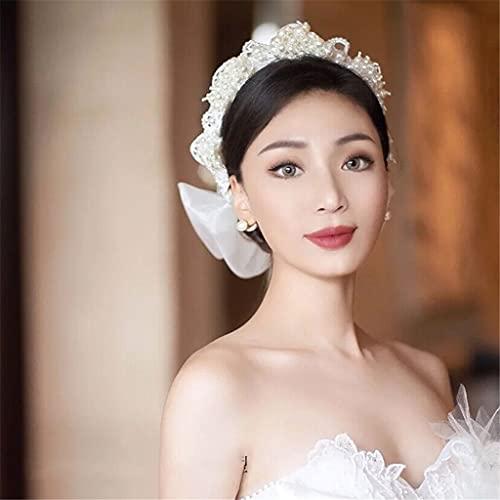 RENSLAT Francés romántico Retro Perla Diadema Guirnalda Mullido Hilo Nupcial Tocado Vestido de Novia