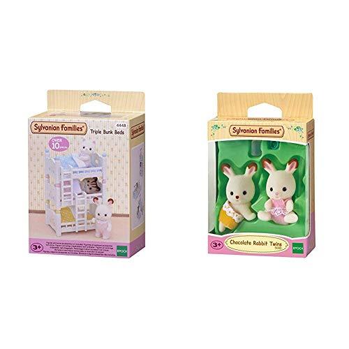 SYLVANIAN FAMILIES Triple literas (Epoch para Imaginar 4448) + Chocolate Rabbit Twins Mini muñecas y Accesorios, (Epoch para Imaginar 5080)