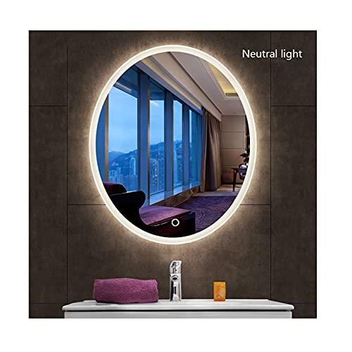 zyy Oval Táctil Espejo de Baño Iluminado con LED 19.6x27.5 Pulgadas Espejo De WC Espejo de Maquillaje con Luz Vestidor Espejo Luz Blanca Luz Cálida Luz Neutra (Color : E, Size : 19.6x27.5in)