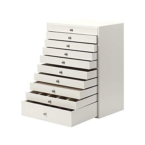 Exquisito Caja de joyería enorme / organizador / Caja de cuero de piel de cuero Caja de almacenamiento Tipo de cajón Caja de almacenamiento de joyería, 10 capas, regalo para niñas o mujeres Caja de jo