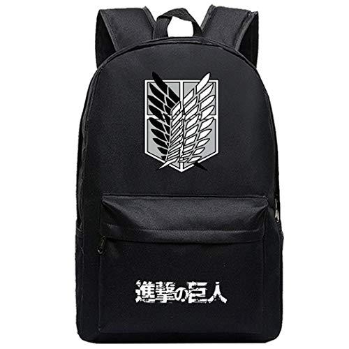 WANHONGYUE Attack on Titan AOT Anime Cosplay Zaino Casual Daypack Backpack Borsa da Viaggio Zainetto Nero /14
