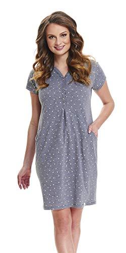 DN, Nachthemd, TCB.9453, Darkgrey, Gr. S/Umstandsnachthemd/Stillnachthemd/Nachthemd für Schwangere, Baumwolle