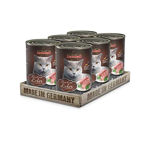 Leonardo Nassfutter [6x400g Leber] | Getreidefreies Nassfutter für Katzen | Feuchtfutter Alleinfutter aus der Dose