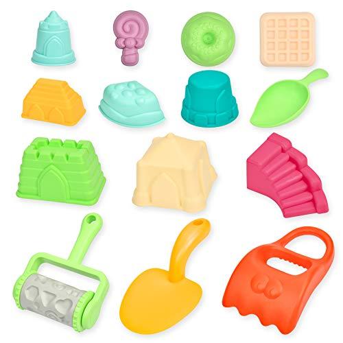 KATELUO Kinder Strand Sandspielzeug Set, 14 Stück Sandkasten Spielzeug mit Sandschaufel, Löffel, Burgenförmchen usw., Strandspielzeug Sandformen ummer Outdoor-Spielzeug für Kinder ab 1 Jahre