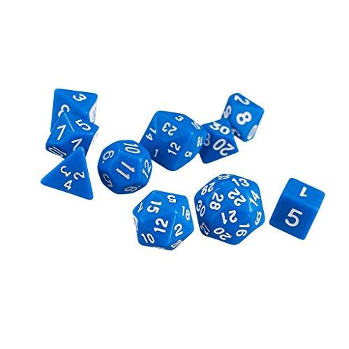 10pcs / Set Trpg Spiele Dungeons & Dragons D4-d30 Mehrseitige Würfel - Blau
