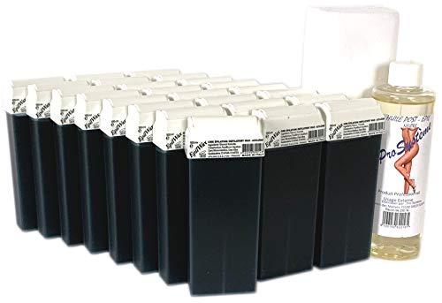 EPILWAX S.A.S - Lot De 24 Roll-On De Cire épilatoire jetable Potassium & Azuléne, avec Roulette Grand Modèle pour les jambes, aisselles, et le corps, 250 Bandes et 1 flacon d'Huile après épilation.