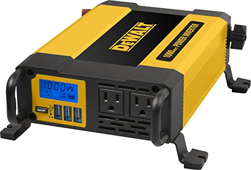 DEWALT DXAEPI1000 Power Inverter 1000W Car Converter with LCD Display: Dual 120V AC Outlets, 3.1A USB Ports, Battery Clamps