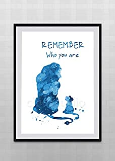 Simba and Mufasa Watercolor Art Print - The Lion King Inspired Watercolor Art Print Wall Art - Lion King Remember Who You Are Quote Kids Room Decor #B