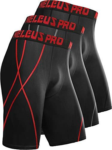 Neleus Men's Compression Shorts Dry Fit Workout Running Shorts,6010,3 Pack:Black,red,Grey,L,EU XL