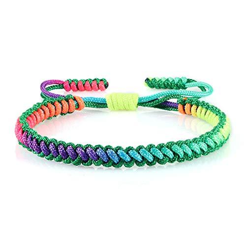 LDDJ Pulsera Arco Iris Cadena Colorido Tejido Pulsera Orgullo Gay brazaletes Lesbianas brazaletes para Mujeres Hombres Afortunado Cuerda Amante joyería Mejor Regalo con Cuentas (Metal Color : Green)