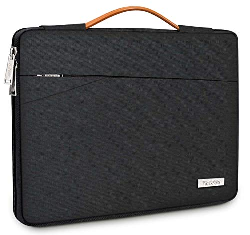 TECOOL 15.6 Inch Laptop Sleeve Protective Case Cover Carry Bag with Handle and Front Pockets for 15.6-inch HP Lenovo Thinkpad Ideapad Acer ASUS Dell Samsung Laptops Chromebooks Notebooks, Black