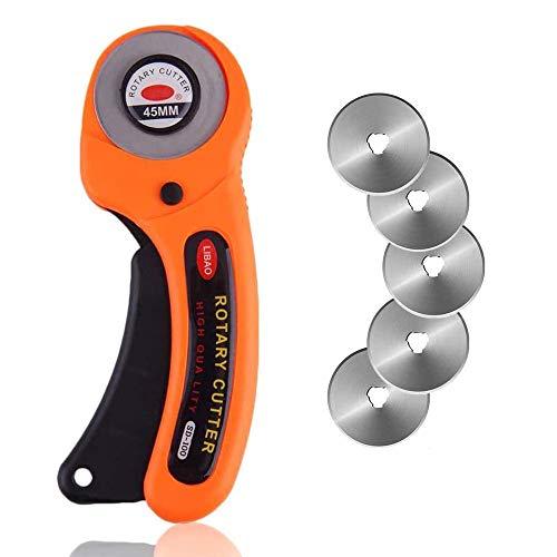 Bestgle Cutter Rotativo con 5 Cuchillas Circular 45mm de Repuesto Cortador Giratorio Cortar Herramienta de Corte,para Cortar Tejidos, Tarjetas,Cuero,etc
