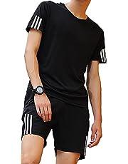 [ジェイストア] トレーニングウェア メンズ 上下 セット スポーツウェア 半袖シャツ ハーフパンツ 吸汗速乾 ジム