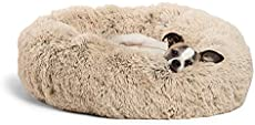 """Best Friends by Sheri The Original Calming Donut Cat and Dog Bed in Shag Fur, Machine Washable, for Pets up to 25 lbs. - Small 23""""x23"""" in Taupe"""