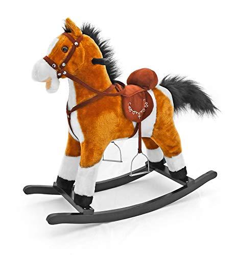 MILLY MALLY, Cavallo a Dondolo, Giocattolo con Effetti sonori, Orsacchiotto Incluso, Colore Bianco, Articolo 5907717434164