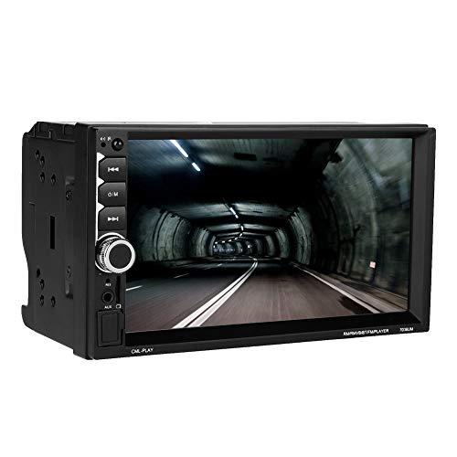 Hakeeta Doble DIN MP5 Player LCD de 7 Pulgadas para Automóvil, con Navegación GPS, Pantalla Táctil, Conexión Bluetooth al Teléfono Móvil, Soprte de Reproducción Trasera, a Prueba de Golpes