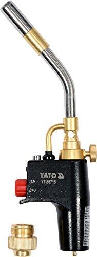 YATO Profi Turbo Gaslötlampe mit Piezo-Zündung | 2800 °C | 2 KW | Auto Start/Stop | Turbo-Brenner | Lötlampe Lötbrenner Bunsenbrenner