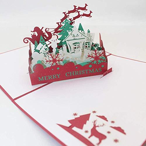 Decoración navideña Regalo Tarjeta de felicitación Boda Navidad 3D Estéreo Hecho a Mano Noche de Navidad