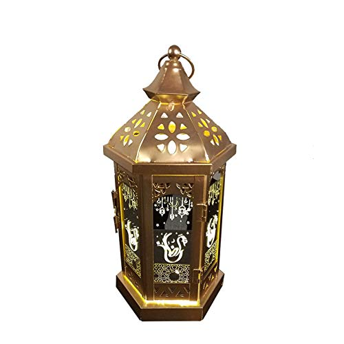 Laterne Eid Mubarak Laterne, LED Licht Arabisch, Happy Mubarak Metall Ramadan Dekoration für Muslim Islam Party-Warmes Licht (Color : E)