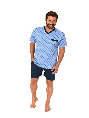 NORMANN WÄSCHEFABRIK Herren Shorty Pyjama Kurzarm in klassischen Farben - auch in Übergrössen - 181 105 90 007, Größe:52, Farbe:hellblau