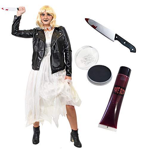 ILOVEFANCYDRESS - Disfraz de mujer para mujer con diseño de muñecos asesinos de lujo, para vestido, chaqueta de cuero, peluca, pintura facial, sangre falsa y cuchillo falsificado (grande)