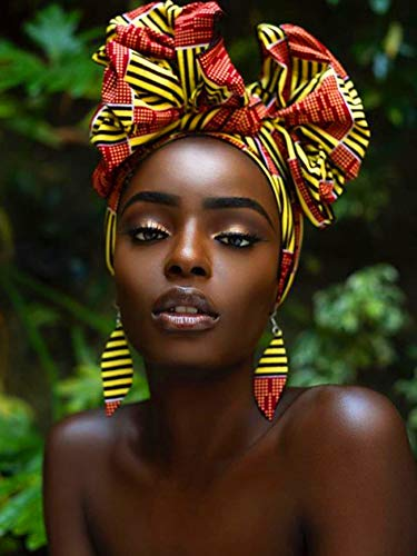 Ginfonr 5D Diamond Painting Diamante Pintura Mujer Africana Kits, Punto De Cruz Diamante Pintura Planta Persona Negra De Taladro Completo Con Decoración De Pared De Diamantes Art 30 * 40 cm