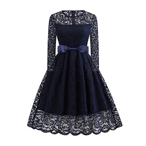 YWSZJ Vestido de Encaje de Invierno para Mujer, Vestido de Noche de Manga Larga, Elegante Vestido de otoño Vintage (Color : Blue, Size : Medium)