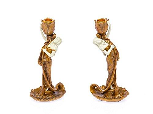 aubaho 2 Kerzenleuchter Kerzenständer aus Kunststein im Jugendstil Design Kandelaber