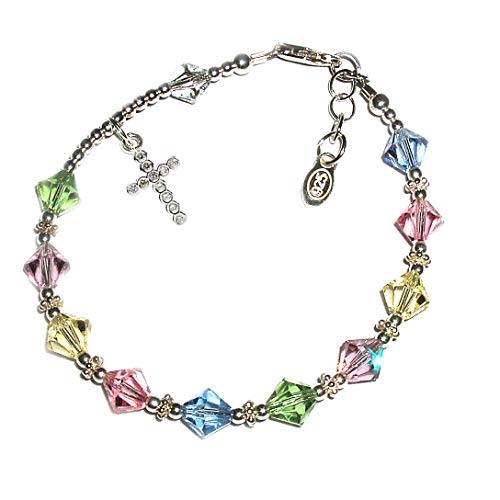 Children's Sterling Silver First Communion Rosary Bracelet with High End Crystals and CZ Cross (6-6.5')