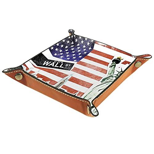 Bandeja de Valet, colección de Cuero de PU, Organizador de bandejas, Caja de Almacenamiento para Relojes, Monedas, Monedas, Billetera, Vintage, día de la Independencia, Bandera Americana