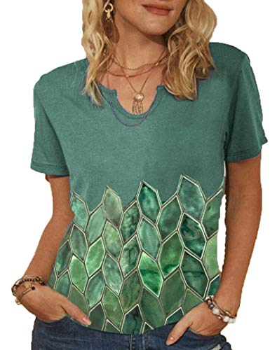 Wsgyj52hua 2021 Nuevo Vestido De Verano para Mujeres Europeas Y Americanas Camiseta De Manga Corta con Estampado GráFico GeoméTrico Superior