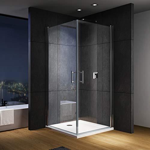 IMPTS Duschkabine Duschtür 90 x 90 x 195 cm Doppelt Schwingtüre Doppeltür Glas Dusche für Eckeinstieg aus 6mm ESG NANO Glas,OHNE Duschwanne