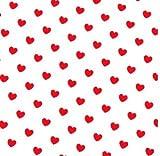 0,5m Stoff Herzen weiß/rot 100% Baumwolle Meterware 1,4m