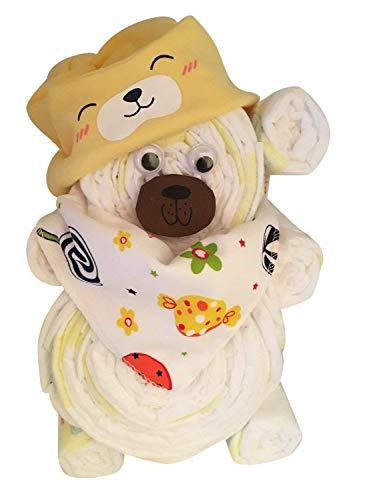 WINDELGESCHENK Neutral Junge/Mädchen -> Windeltorte/Windelgeschenk/Windelbär mit Beanie + Dreieckstuch -> Geschenk zur Geburt -> babyshower geschenk (gelb Gr. 2)