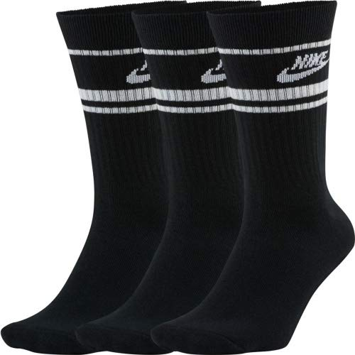 NIKE U Nk Crew NSW Essential Stripe - Calcetines unisex para adulto black/(white) L