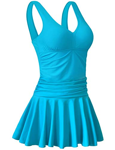 AONTUS Plus Size Swimsuits with Rouching Tummy Control for Women One Piece Swim Dresses Bathing Suit Cerulean