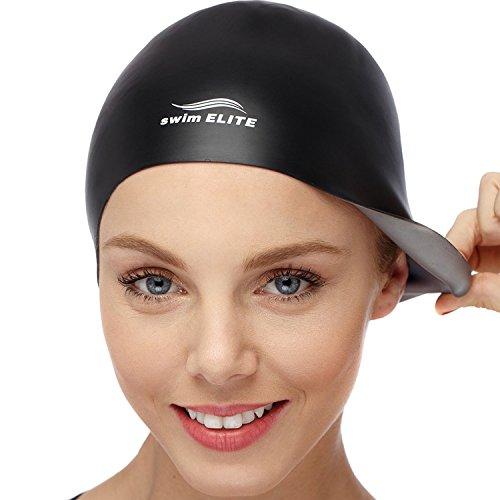 SWIM ELITE Unisex 2-in-1 Wrinkle-Free Reversible Silicone Swim Cap - Silver/Black