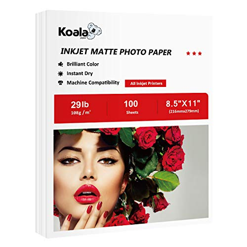 Koala Thin Matte Coated Printer Paper 100 Sheets 8.5x11 Inches for Printing Documents Compatible with Inkjet Printer