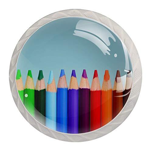Pomo de armario Lápices de colores Pomos Redondos, 4 x Tirador de Cocina, Tiradores Muebles para Armario, Puerta Armario, Gabinete, Cajón, Puertas de Muebles, Zapateros 35mm