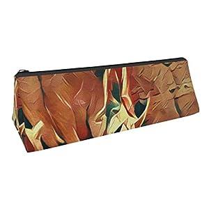 TEGUJ Abstract Hippo Bolsa de bolígrafo triangular Portable Estuche Bolsa de cosméticos para oficina Student Women