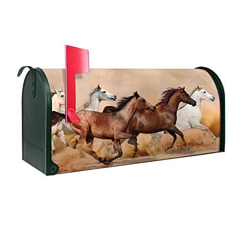 BANJADO US Mailbox | Amerikanischer Briefkasten 51x22x17cm | Letterbox Stahl Grün | mit Motiv Wilde Pferde