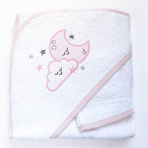 AMTBABY Toalla de baño con Capucha para Bebe. Capa de baño 100% Algodón. Toallitas 75 x 75 , Suave y Confortable. Nube-Estrella