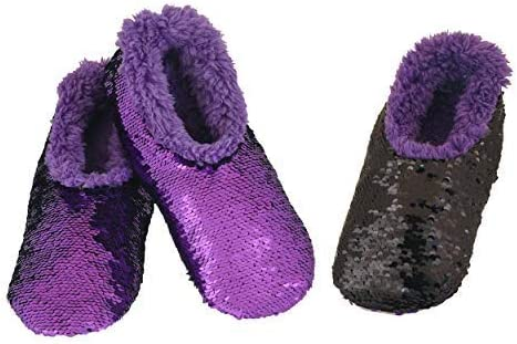 Snoozies Womens Reversible Sequin Bling