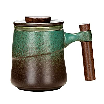 NCQIXIAO Tea Mug with Lid, 320ml/10.82 Ounce Retro Glazed Ceramic Tea Cup with Infuser, Wood Handle for Steeping Loose Leaf Tea (Vintage Green)