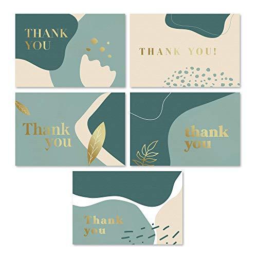 Rileys tackkort med matchande kuvert | 50 stycken, guldfolie - tomma anteckningskort, perfekt för bröllop, affärer, presentkort, examen, baby shower, begravning (salviaggrön)