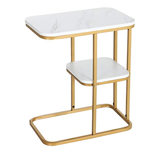 INMOZATA Side Table C shaped End Table Coffee Table with Storage Shelf Sofa Table Wood Metal Frame for Bedroom Living Room (White Stone Texture&Gold Frame)